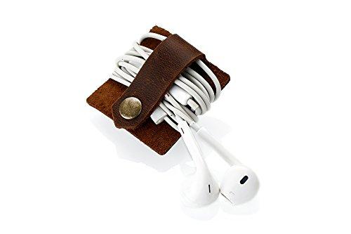 Kronya® | Kopfhörerhalter aus Leder | Etui Fitness Halter Halterung In-Ear Kabel Kopfhörer Kopfhörerständer Ohrhörer On-Ear Organizer | Kompatibel mit Apple iPhone Samsung Galaxy | 1 (Dunkelbraun)