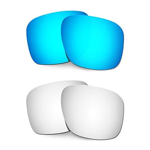 HKUCO Ersatz-Brillengläser für Oakley Holbrook XL OO9417 Blau/Titan Sonnenbrille