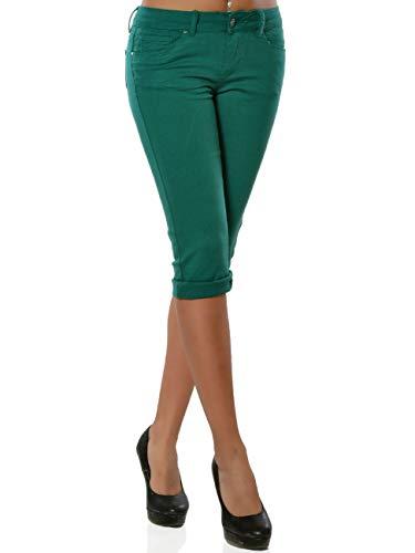 Daleus Damen High-Waist Capri Jeans Kurze Sommerhose DA 15990 Farbe Grün Größe L / 40 -