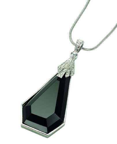 Price comparison product image Fiorelli Costume Collection Ladies N2901 Art Deco Pendant with Black Acrylic and Crystal on 82cm Chain