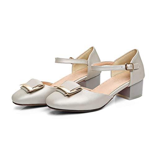 MENGLTX High Heels Sandalen Süße Mode Sommer Große Und Kleine Größe 32-48 Sandalen Schuhe Frau Karree High Heels Frauen Hochzeit Pumps 6-7 3,5 Silber (Silver Jeans 33 32)
