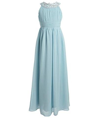FAIRY COUPLE Mädchen Runde Ausschnitt Neckholder Chiffon Kleid mit Strass Rüschen Party-Kleid Ballkleid Schulterfrei K0151 8 Licht Himmel
