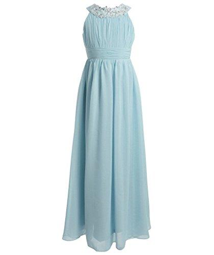 Himmel Blau Neckholder (FAIRY COUPLE Mädchen Runde Ausschnitt Neckholder Chiffon Kleid mit Strass Rüschen Party-Kleid Ballkleid Schulterfrei K0151 6 Licht Himmel blau)