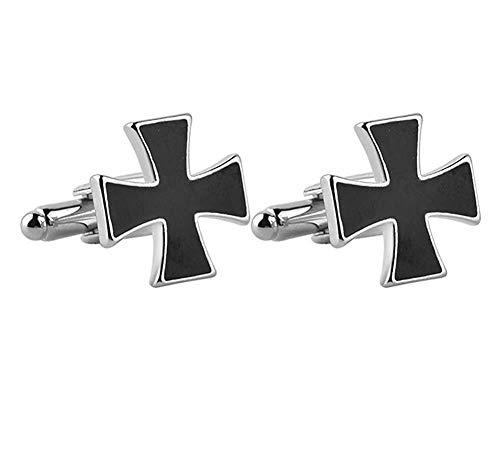 Ogquaton Hochwertiger Manschettenknopf German Iron Cross Herren Edelstahl Business, rundes Fassion für Hochzeitshemden -
