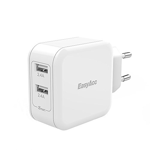 [Smart Charge&Kompaktesten]EasyAcc 24W USB Ladegerät 4.8A 2-Port Portable Adapter für iPhone SE, 6s, 6 Plus, iPad Pro / Air / Mini, Galaxy S7, S6 Edge, S6 Plus und viele mehr, Weiß
