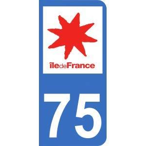 Mon-Blason Aufkleber 75 mit offiziellem Logo für Nummernschild, 9,8 x 4,5 cm -