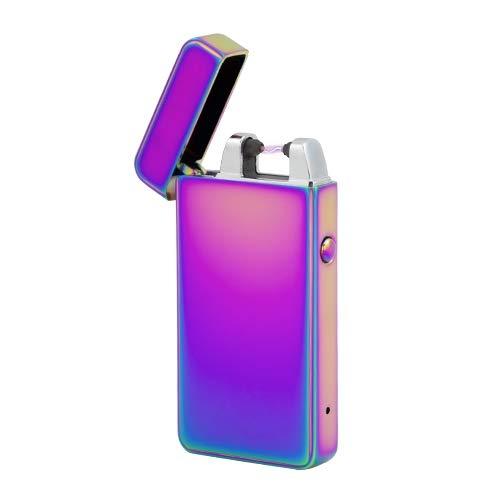 TESLA Lighter T01 | Lichtbogen Feuerzeug, Plasma Single-Arc, elektronisch wiederaufladbar, aufladbar mit Strom per USB, ohne Gas und Benzin, mit Ladekabel, in Edler Geschenkverpackung, Regenbogen