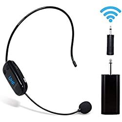 Auriculares inalámbricos UHF con micrófono Recargable para amplificador de voz Sistema de sonido de audio Altavoz externo Perfecto para amplificador de voz, sistema de megafonía para la enseñanza