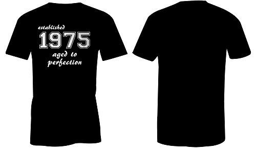 Established 1975 aged to perfection ★ Rundhals-T-Shirt Männer-Herren ★ hochwertig bedruckt mit lustigem Spruch ★ Die perfekte Geschenk-Idee (01) schwarz