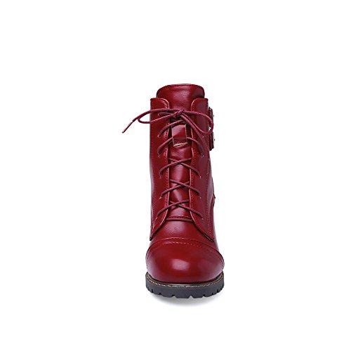VogueZone009 Damen Rund Zehe Artifizielles Büffelleder Schnüren Stiefel mit Metall Schnalle Weinrot