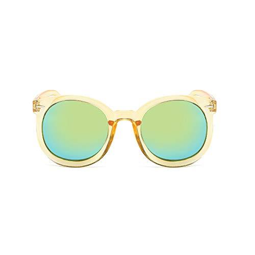 SUNGLASSES Persönlichkeit Runde Gesicht Farbe Film Sonnenbrillen Lange Gesicht Sonnenbrille Avantgarde Männer Augen UV Schutzbrille (Farbe : Gold Mercury)