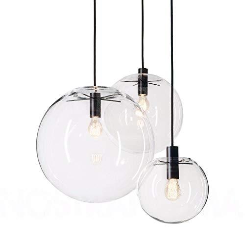 Moderne Nordic Luster Globe Pendelleuchten Fixture Home Deco Glaskugel-hängende Lampe DIY E27 Suspension klar Glas Hängelampe, D35cm, schwarz Fassung # 2067