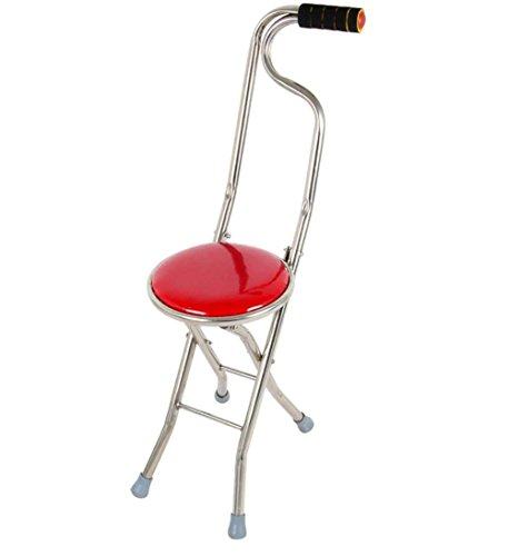 ZQIZW Aluminium- mit Sitzfläche Gehstock Drive Medical Stockstuhl, Faltender Gehender Vier Beine Stuhl-Hocker (Drive Medical Vier)