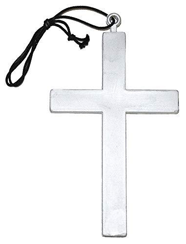 Kostüm Nonne Böse - Kreuz Halskette zum Mönch Kostüm - Silber - Schmuck Zubehör Pfarrer Priester Nonne Kostüm Karneval Mottoparty Halloween