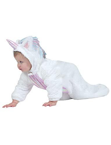 Luxuspiraten - Baby Jungen Mädchen Kostüm Plüsch Einhorn Unicorn Fell Einteiler Onesie Overall Jumpsuit, perfekt für Karneval, Fasching und Fastnacht, 92, Weiß