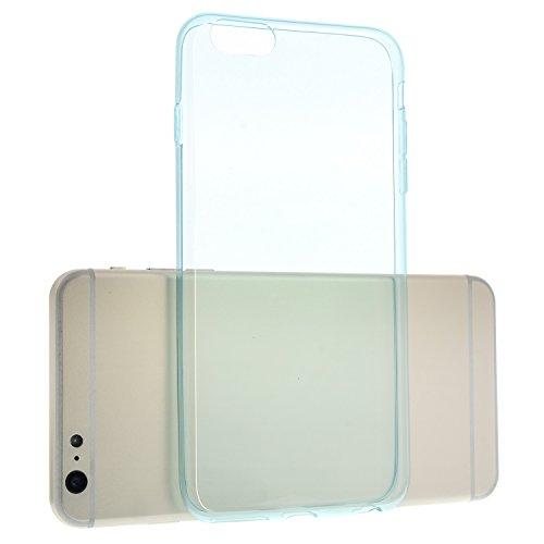Transparent Pink TPU Silikon Case für iPhone 6, 6S Plus - 5,5 Zoll Schutzhülle Cover Schale Hülle Bumper - EXTRA Slim Dünn + Schutzfolie durchsichtig Blau