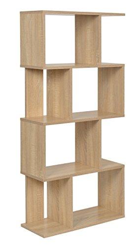 ts-ideen Design Scaffale Libreria Mensola di archiviazione Libri CD effetto legno di quercia 128,5 x 60 cm