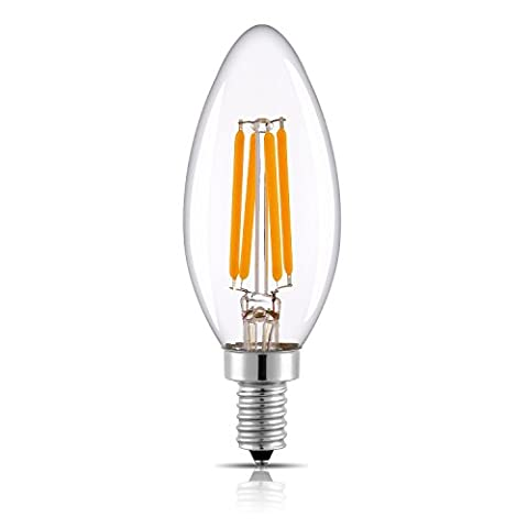 Keymit C35 LED Candelabra Base Bulb Filament - Dimmable - 4W - E14 Edison Chandelier Bulbs Clear Glass Warm Glow 2700K - Candle Lights Style – Equivalent 25 - 40W