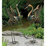 chsgjy groß Kupfer Patina Flying Crane Paar Skulptur Heron Bird Yard Art Metall Statue Home Garten Decor