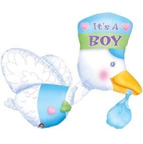 Palloncino Cicogna nascita bimbo boy 81cm