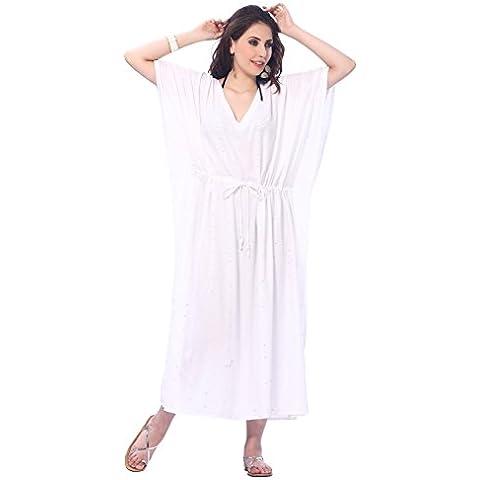 La Leela todo 1 señoras camisa dormir rayón cóctel bordado túnica cubrir la parte superior vestidos traje baño cordón camisones profunda maxi vestido noche largo caftán mujeres cuello