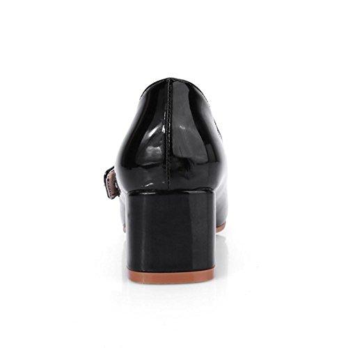 TAOFFEN Femme Mode Bloc Talons Moyens Mary Janes Chaussures Bas Noir