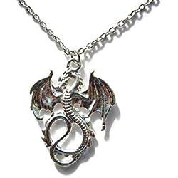Silver Knight - Collar de dragón bañado en plata de 22 pulgadas inspirado en Juego de Tronos en una preciosa bolsa de regalo
