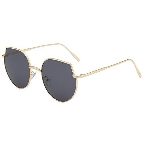 fazry Herren Damen Persönlichkeit Steampunk Jahrgang Metallrahmen Brille Brillen Sonnenbrille (B)
