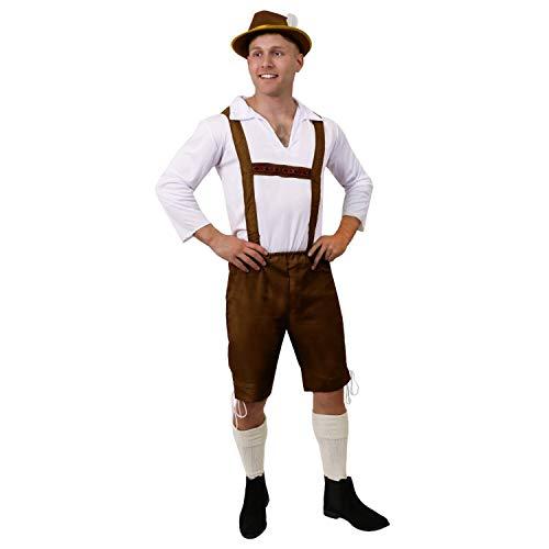 Männer Kostüm Hirsch - ILOVEFANCYDRESS BAYERISCHE Mann KOSTÜM - BRAUN Lederhosen Stil Hose UND WEIß TRADITIONELLEN Stil Shirt - PERFEKT FÜR DEUTSCHE Oktoberfest Hirsch Nacht ODER Jede AUSGEFALLENE Kleid Party (GROß)