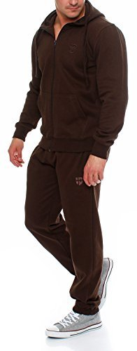Hoppe Herren Trainingsanzug Sportanzug Sweatshirt-Jacke Trainingshose (XL, braun)