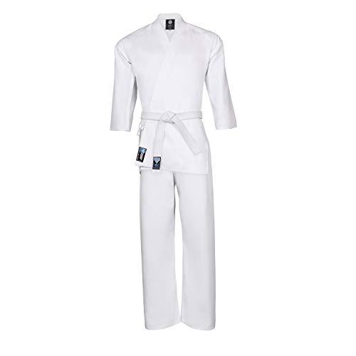 für Kinder, Studenten, Anfänger, Poly-Baumwolle, Taekwondo-Uniform, GI Outfit, Bekleidung, Kampfsport-Ausrüstung, elastischer Kordelzug in der Taille frei Gürtel weiß, 130 cm ()
