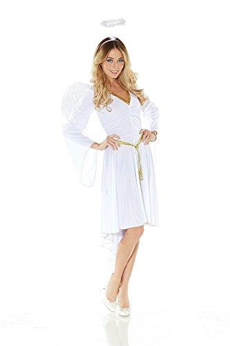 Damen-Kostüm Engel mit Trompetenärmeln inklusive Flügel und Heiligenschein , Größe:L