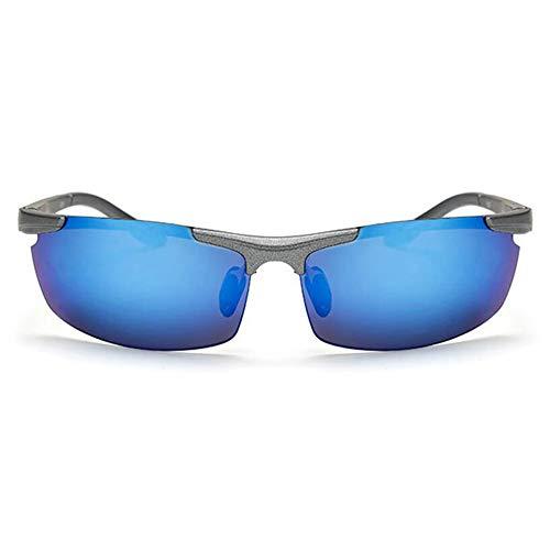 xinzhi Fahrrad-Sonnenbrillen, Herren-Sonnenbrillen polarisierte Sonnenbrillen Brille Imitation Aluminium Magnesium Brille - Silver Frame Ice Blue