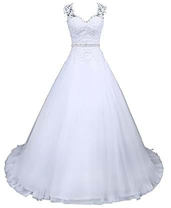 Romantic-Fashion Brautkleid Hochzeitskleid Weiß Modell W048 A-Linie Satin Perlen Pailletten Strass DE Größe 34
