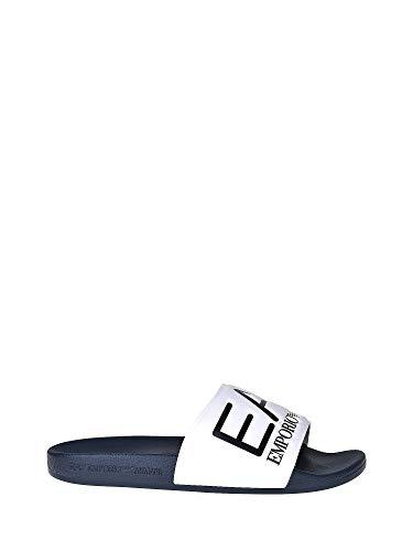 Ea7 ciabatte a fascia da uomo in gomma con logo in rilievo blu/bianco