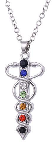 fishhook Collar de meditación con el símbolo de Caduceo Médico 7 Chakra, Yoga, Budista, Equilibrio de Vida