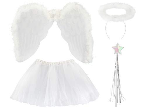 Kinder Kostüm Engel Flügel - Iso Trade Kostüm Set Engel Kinder Weiß Outfit Rock Heiligenschein Zauberstab Flügel 3069