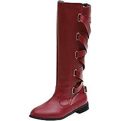 JiaMeng Zapatos Combat con Correa Moda Mujer Fashion, Zapatos con Hebillas Roman Riding Knee High Botas de Vaquero Long Boots