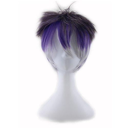 Layered Kurzes Haar (F-blue Kurz Glatt Layered Synthetische Haar-Gradient-Perücke für Cosplay Partei für Männer)