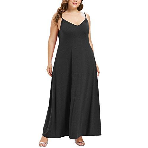 VEMOW Plus Size Elegante Damen Frauen Casual Kurzarm Kalt Schulter Boho Blumendruck Casual Täglichen Party Strand Langes Kleid Schulterfrei Strandkleid(Z1-Schwarz, EU-54/CN-5XL) (Khaki Kleid Plus Größe)