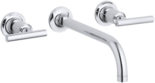 KOHLER K-T14414-4-CP Purist Two-Handle Wall-Mount Faucet Trim, Polished Chrome