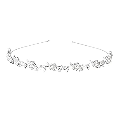 NUOLUX Wedding Women's Crystal Bridal Flower Leaves Crown Headband Tiara by NUOLUX