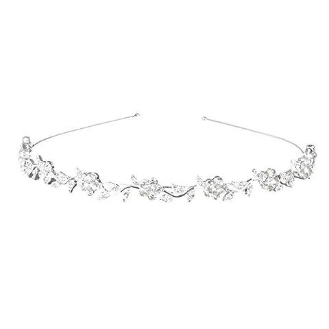 WINOMO Kristall Braut Blume Verlässt Krone Stirnband Tiara