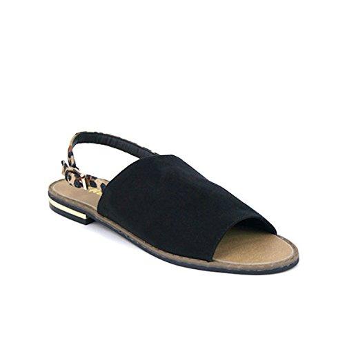 Cendriyon Sandale Façon Espadrille Ouverte Vivi Rich Chaussures Femme Noir