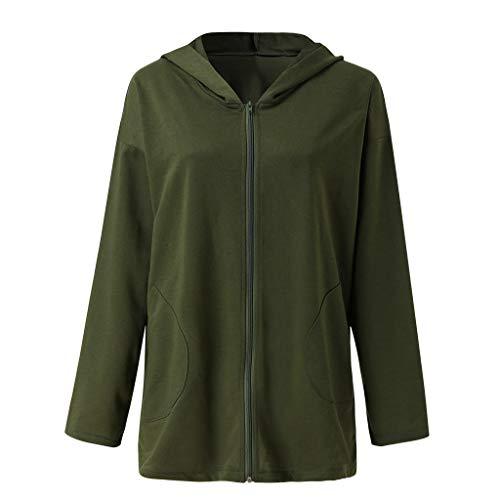 Setsail Damen Neues Fashion Kapuzen Sweatshirt Mantel Herbst Reißverschlusstaschen Outwear Lässiges Bequemes Bluse Mantel Geeignet für...