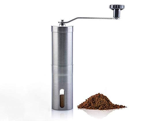 Gxflo macinacaffè manuale in acciaio inox con bava conica regolabile in ceramica, mulino a manovella, dimensioni compatte perfette per la casa, l'ufficio o il viaggio