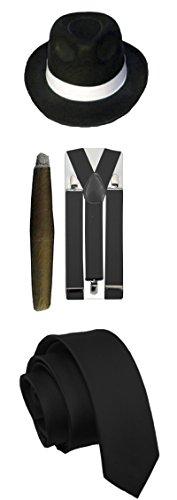 Herren Gangster Pimp Thema Weiß Schwarz hat Hosenträger Krawatte Zigarre 1920's Party Outfit (Schwarze Und Weiße Kostüme Themen)