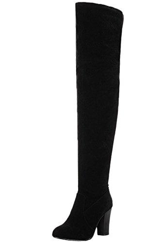 HooH Femmes Sur le genou Bottes Suède L'hiver Chaleureux Talon haut Chunky Cuissardes Bottes Noir