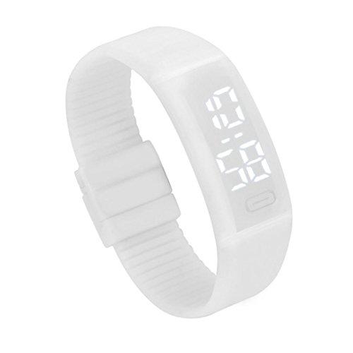 LSAltd Herren Damen LED Digitaluhr Unisex Gummi Datum Sport Armbanduhr Armband Geschenk (Weiß)