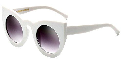 BOZEVON Damenmode Retro Party Katze Auge Stil Sonnenbrille Nette Farbe Gradation Linse Eyewear Weiß-Grau C5